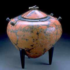 Red & Black Amphora, a large pinch pot, by Kristin Doner.